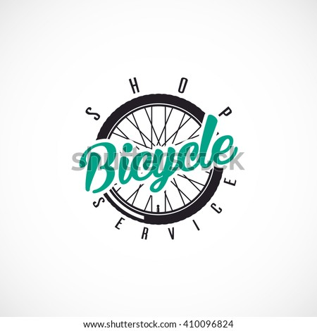 Retro Bicycle Vector Label or Logo Template. Bicycle Handler with ,,Bicycle SHOP & SERVICE,, text. - stock vector