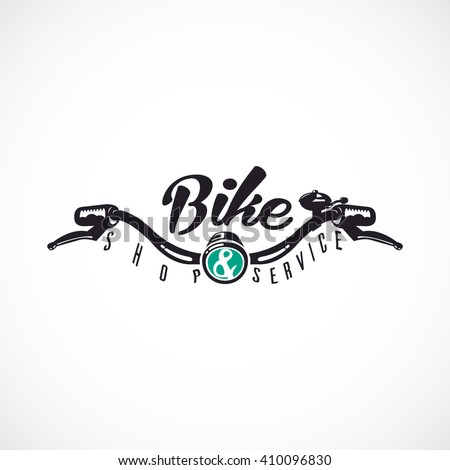 Retro Bicycle Vector Label or Logo Template. Bicycle Handler with ,,Bike SHOP & SERVICE,, text.  - stock vector