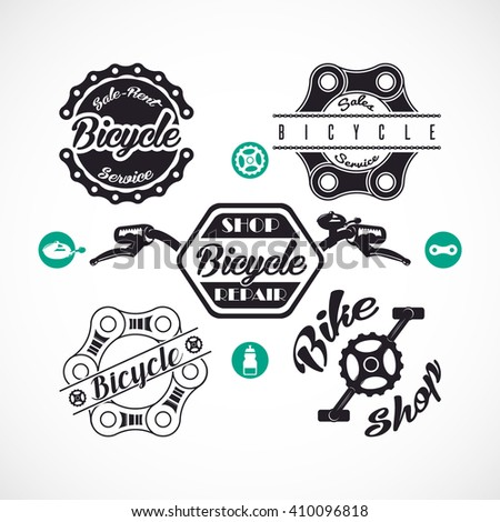 Retro Bicycle Vector Labels or Logo Templates Set Isolated - stock vector