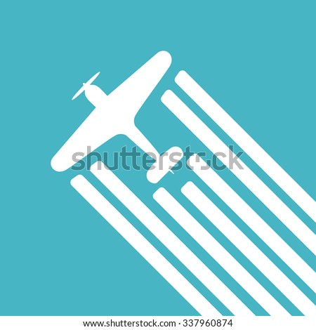 Retro biplane vector illustration. Whirlwind of airplane, for travel agencies, aviation companies - stock vector