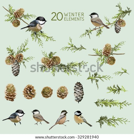 Retro Birds and Winter Elements- in Watercolor Style - vector - stock vector