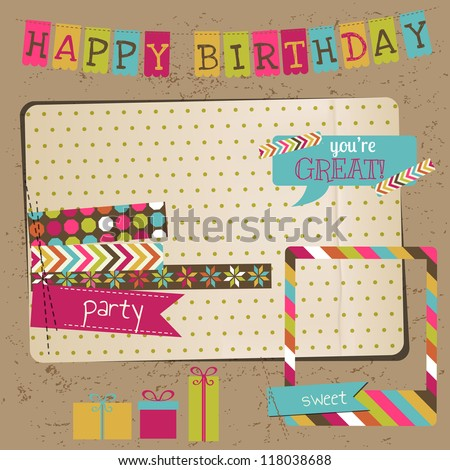 Retro Birthday Celebration Design Elements - for Scrapbook, Invitation in vector - stock vector