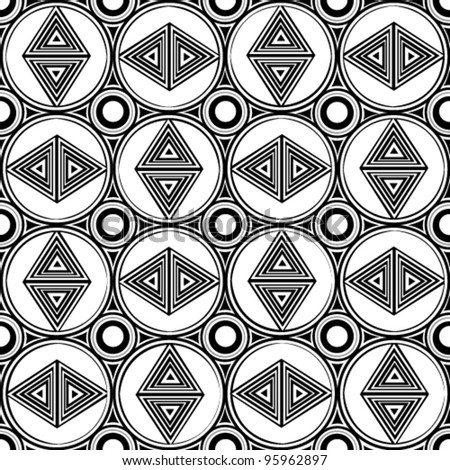 Retro black and white seamless triangle background
