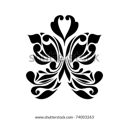 Retro black butterfly isolated on white background for valentine day (vector version eps 8). Great for signs, logos, web, logotype. - stock vector