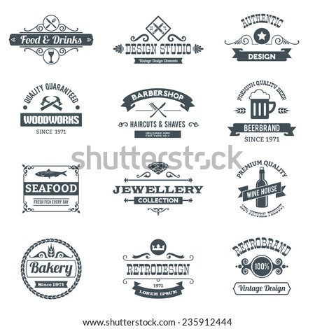 Retro black logo emblems set with woodworks barbershop restaurant isolated vector illustration - stock vector