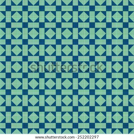Retro blue-green ornate mosaic seamless plaid