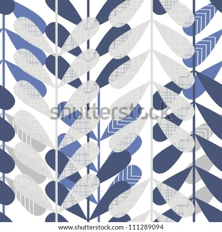 retro blue leaves seamless pattern - stock vector