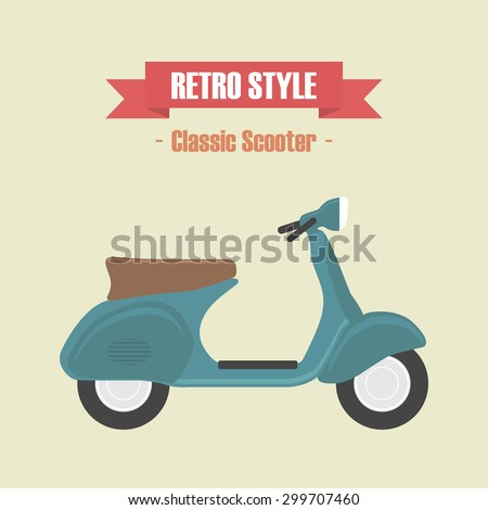 retro blue scooter, vintage style - stock vector
