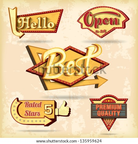 Retro boards design set. Vector illustration - stock vector