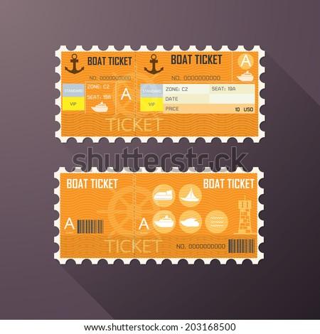 Retro boat ticket card Classic design. - stock vector