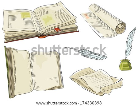 Retro books. Vector set of old  books and antique objects at color engraving style.   - stock vector