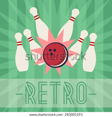 Retro bowling strike with old fashioned background