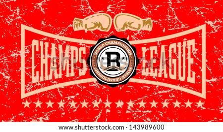 Retro Boxing champs league Labels - stock vector
