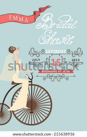 Retro bridal shower invitation cute cartoon stock vector 215638936 retro bridal shower invitation cute cartoon bride on retro bicyclecor elements vignettes filmwisefo