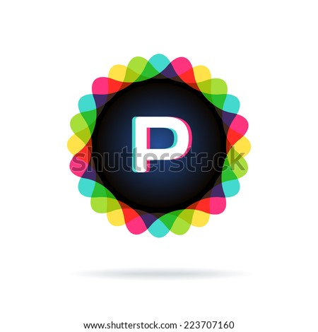 Retro bright colors Logotype, Letter P - stock vector