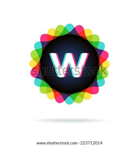 Retro bright colors Logotype, Letter W - stock vector