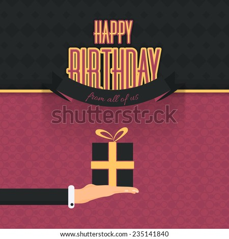 Retro Brown Gift Boxes Hanging Flat Happy Birthday Vector Design. Announcement and Celebration Message Poster. Hands hold Gift Box - stock vector
