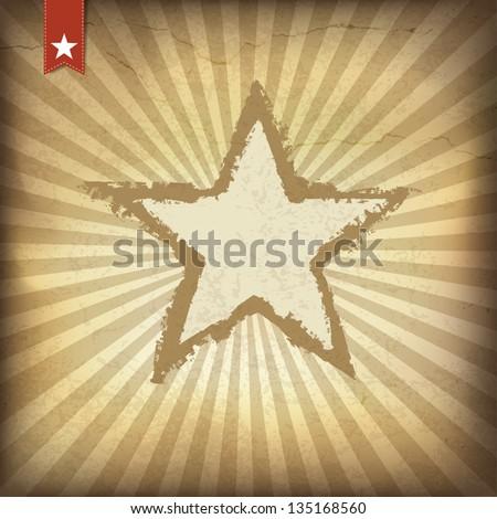 Retro brown sunburst background. Vector illustration, EPS10. - stock vector