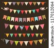 Retro bunting and garland set - stock vector