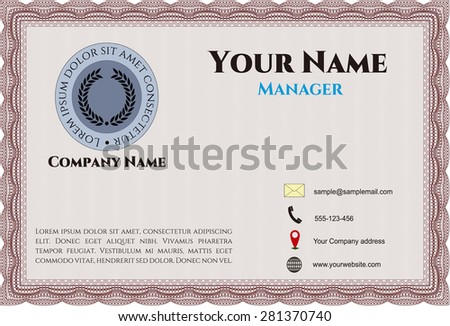 Retro business card template - stock vector