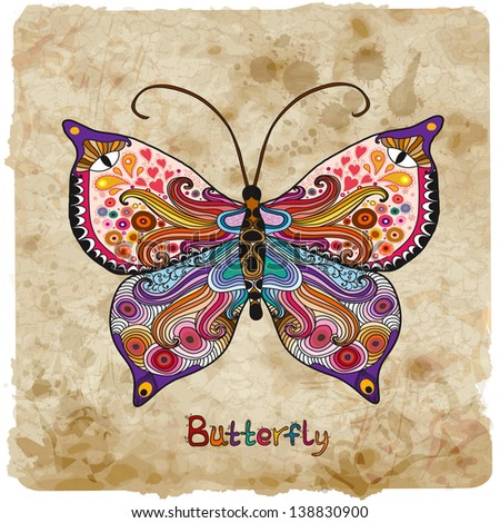 Retro butterfly on a vintage background - stock vector