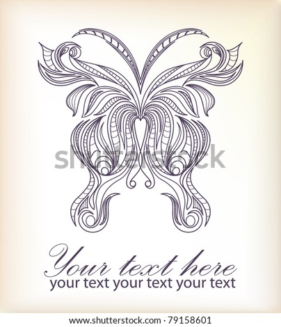 Retro butterfly on background for valentine day with your text (vector version eps 10) - stock vector