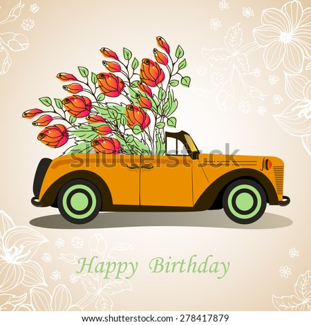 Retro Cabriolet Car Happy Birthday With Flowers