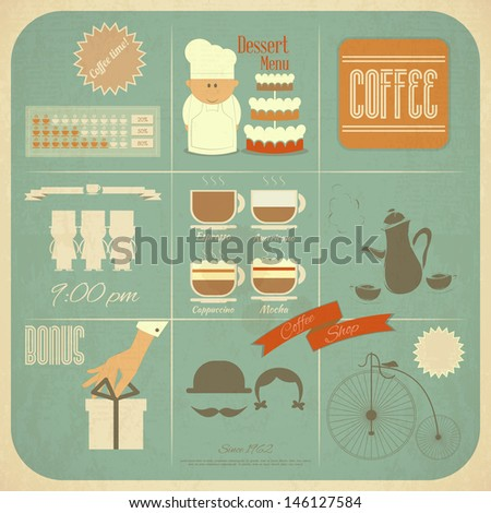 Retro Cafe Menu Card in Vintage Style with Types of Coffee Drinks and Graphics Icons. Vector Illustration.  - stock vector