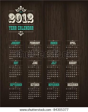 Retro calendar 2012 - stock vector