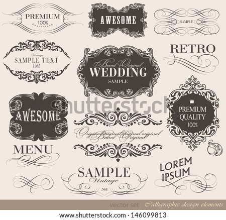 Retro calligraphic design elements and page decoration/ vector set/ typography Design
