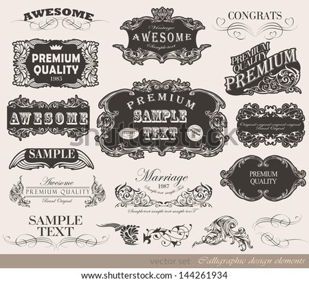 Retro calligraphic design elements and page decoration/ vector set/ Vintage Frame collection