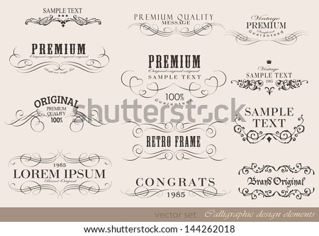 Retro calligraphic design elements and page decoration/ vector set/ Vintage Frame collection - stock vector