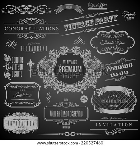 Retro Calligraphic design elements. Invitation frame. Collection of Frames and decorative vector elements - stock vector