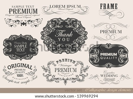 Retro calligraphic design elements label and page decoration/ vector set - stock vector