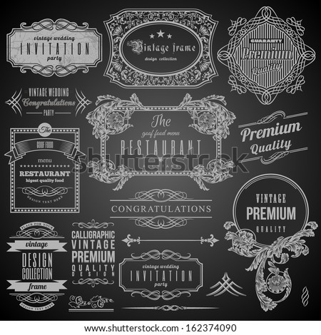 Retro Calligraphic design elements, Restaurant Menu and Frames. Set of Labels. - stock vector