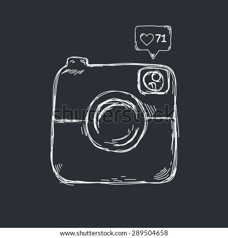 Retro camera icon design in sketch style - stock vector