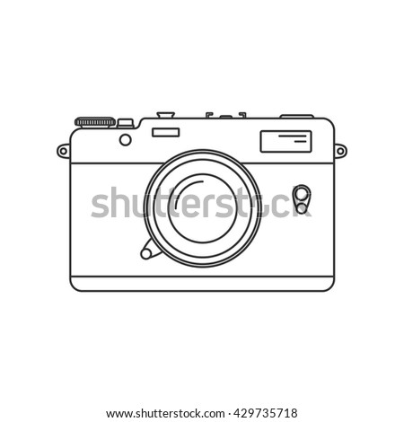 Retro camera Icon. Vintage camera in line art style.  Antique Camera Illustration. Isolated on white background. - stock vector
