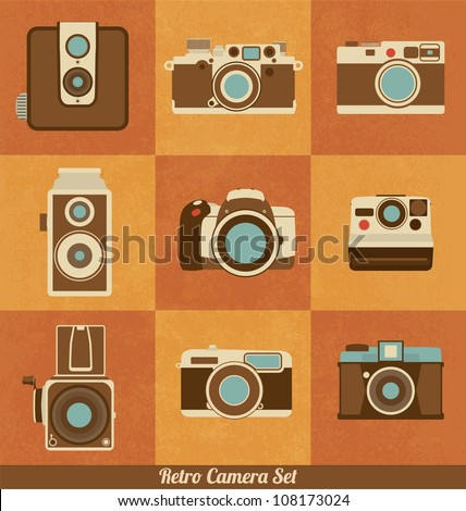 Retro Camera Set - stock vector