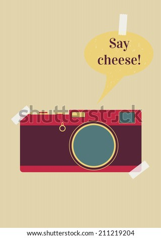 retro camera with say cheese text on background - stock vector