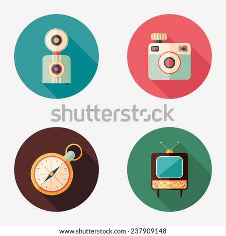 Retro cameras with clock and TV flat round icons. - stock vector