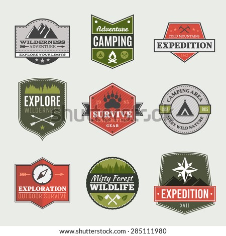Retro Camp badges, exploration, expedition design template - stock vector