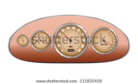 Retro car dashboard. Vector illustration - stock vector