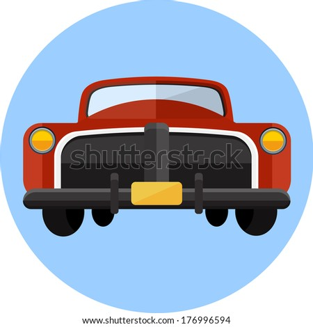 Retro car icon - stock vector