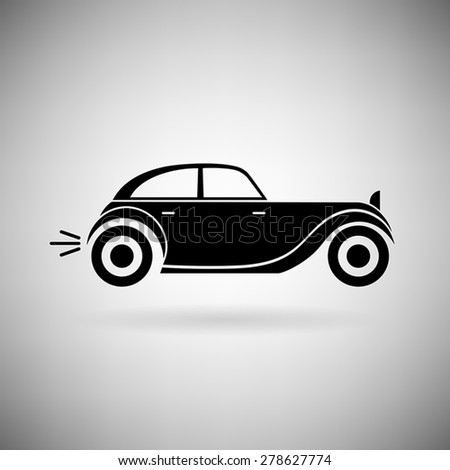 retro car icon on a light background - stock vector