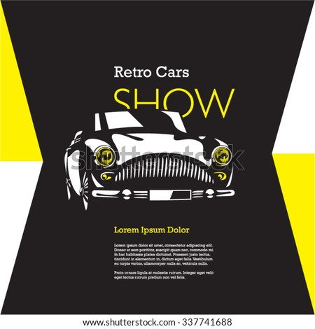 retro car isolated vector on black background, vintage car, car show poster - stock vector