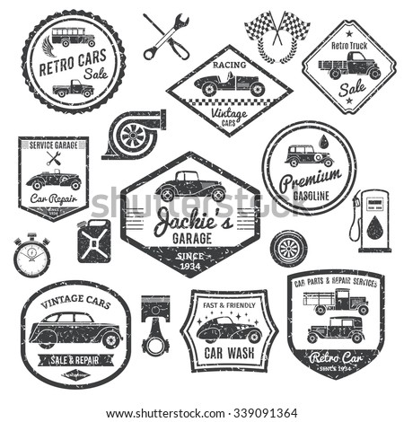 Retro car labels and stickers black set isolated vector illustration - stock vector