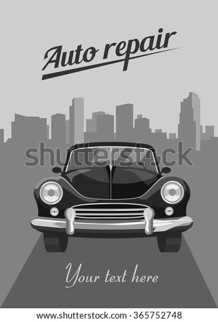 Retro car on city background. Vector illustration - stock vector