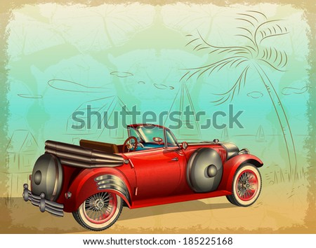 Retro car on summer background  with  palm trees and seascape - stock vector