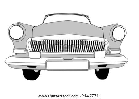 retro car on white background, vector illustration - stock vector