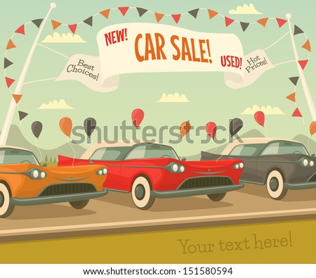 Retro car sale. Vector illustration. - stock vector